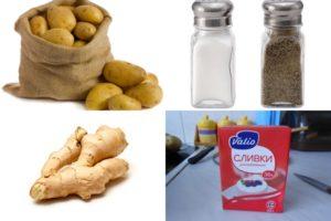основные ингредиенты для имбирного пюре с картошкой и сливками
