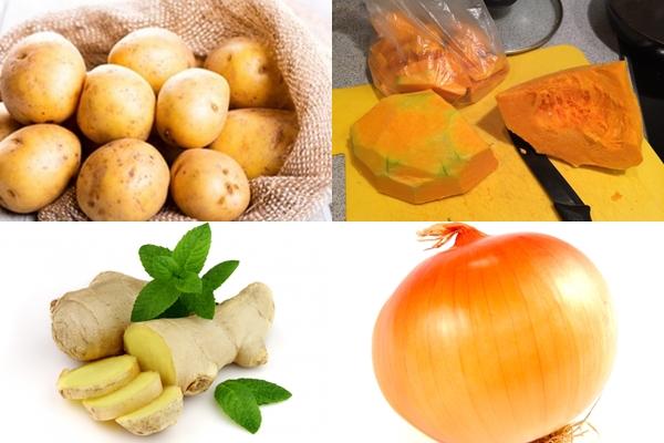 картошка, тыквы, лук и имбирь