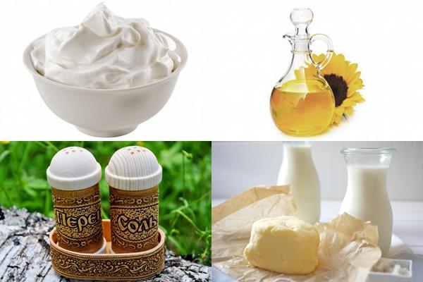 сливки, растительное масло, соль и перец, молоко и масло сливочное