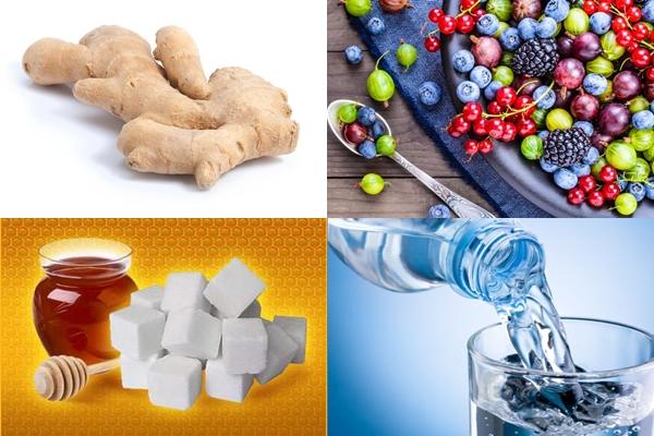 имбирь, ягоды, сахар, мед и вода