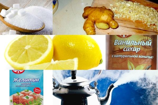 основные ингредиенты для мармелада с имбирем