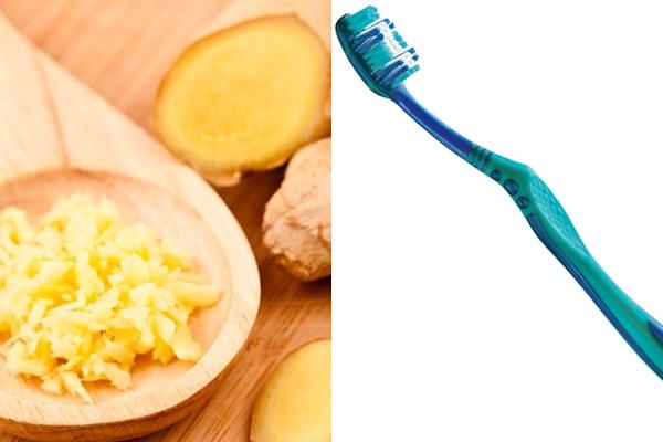 измельченный имбирь и зубная щетка