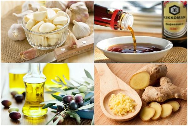 оливковое масло, соевый соус и чеснок