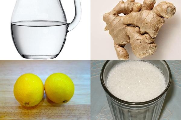 вода, лимоны, корень имбиря и сахар