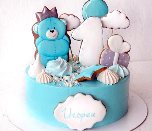 торт для мальчика на 1 годик с имбирными пряниками