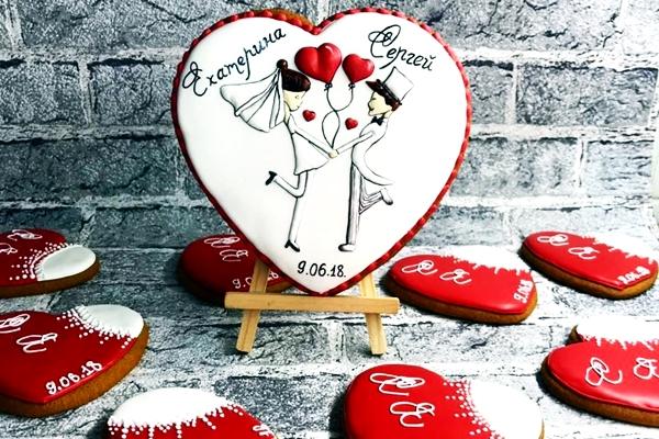 имбирные пряники в форме сердца на 14 февраля