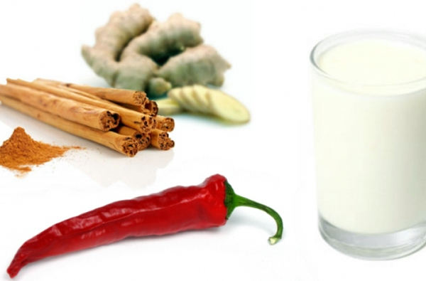 кефир, красный перец, корица и имбирь