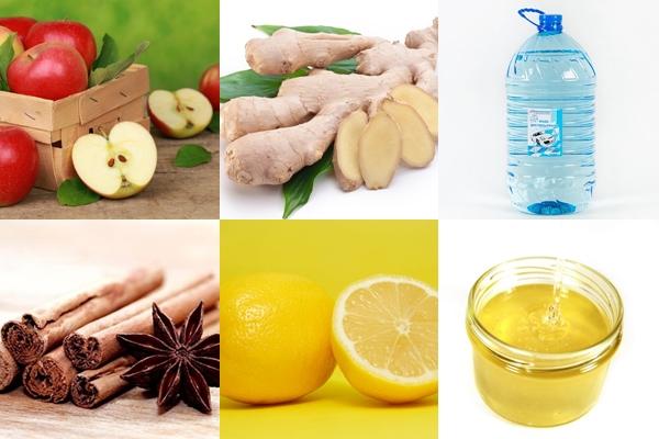 ингредиенты для компота с имбиря и корицы